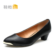 Shoebox shoe new chunky heels pointed asakuchi OL women's shoes high heel shoes with metal head 1114404210