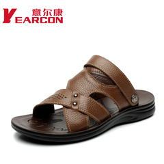 YEARCON/con men's summer Sandals new style men shoes suede cowhide leather shoes authentic mail surges