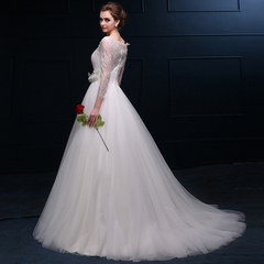 2015 new one shoulder neck small trailing lace Bridal dresses spring/summer simplicity tailored Korean layout