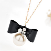 Good Korea bow necklace women fashion long jewelry necklace with bow tie necklace Joker package mail