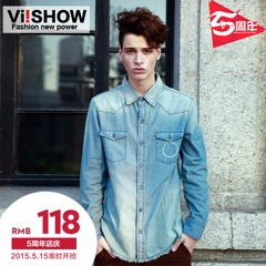Viishow2015 spring denim shirt men's long sleeve shirt slim pale denim shirt in Europe and America the tide
