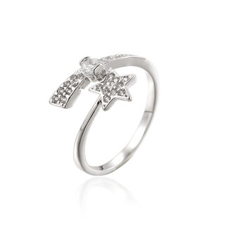 Love Korean ring u-shaped mouth exaggerated personality rhinestones stars ring rings fashion ring