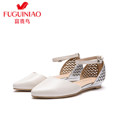 Rich bird leather flat shoes, spring 2016 new colour matching pointed shoes women Sheepskin Shoes Women's shoes