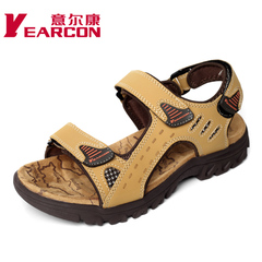 Erkang authentic men shoes new style leather outdoor spring and summer Sandals Velcro-cool casual slip shoes