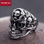 Spring Festival in Europe and the skull ring titanium steel men''s aggressive punk retro accessories fashion rings