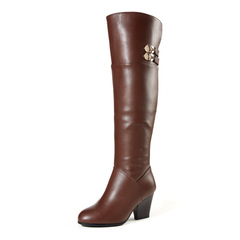 Fuguiniao shoes boots leather and velvet knee-boots winter keep warm plus velvet slim ladies boots