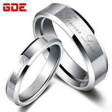 情侣戒指 韩版结婚对戒 光面尾戒钨金个性戒指环可刻字 七夕礼物