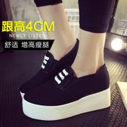 -Fall 2015 Le Fu, thick-soled shoes black and white canvas shoes women with one pedal lazy student shoes shoes casual shoes women's shoes