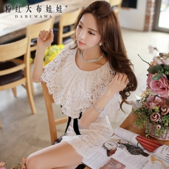 Lace summer dress big pink doll 2015 summer women's slim skinny white Cape dress