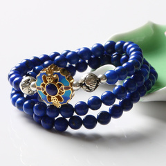 Pro-Bao crystal blue lapis lazuli bracelet women men''s rings bracelets 925 Silver cloisonne strong insulation benefits