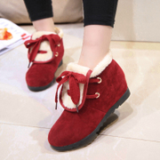C winter women flat suede boots shoes short tube warmth girl booties cake thick fur boots women's boots