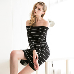 Europe and the new casual black and white striped neck slimmer hips the word sexy knit skirt dress 9300
