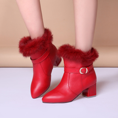 2015 winter new elegance short boots pointy belt buckles and boots thick warm winter boots with boot down tide