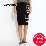 Westlink/West fall 2015 new wave black knitted bag hip dress skirt pencil skirt