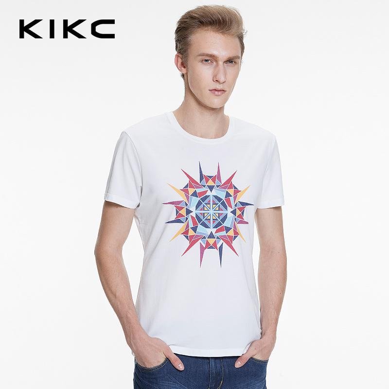 kikc2016夏装圆领欧美简约印花白色修身短袖t恤青年男休闲上衣 潮