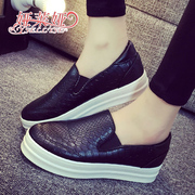 -Fall 2015 sneakers girl Korean version flows snakeskin shoes and thick-soled platform shoes flat lazy people pedal Lok Fu shoes