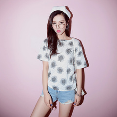 Spring/summer retro tie dye t QUEENZZ/2015 big spend hundreds to catch hold Korean short-sleeved t-girl flashes TX880