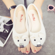 2017 spring and summer new flat with the low to help shallow mouth cute mouse shoes shoes women shoes