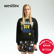Westlink/West New 2015 winter dropped shoulders loose letters printed coat of arms and the head down women sweater