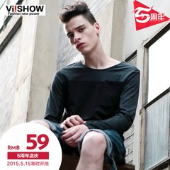 Viishow2015 spring new t shirt stitching cotton youth long sleeve shirt men's t-slim casual t