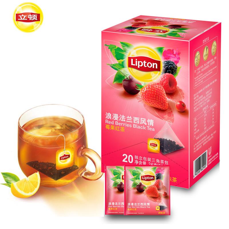 Lipton立顿水果茶三角茶包法兰西风情莓果红茶冲饮袋泡茶叶20小包