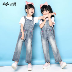 Summer of seven space space OTHERMIX2015 new female parent-child wear suspenders jeans light wash