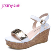 Zhuo Shini 2014 summer styles commuter high heel wedge Sandals peep-toe platform metal 142234280