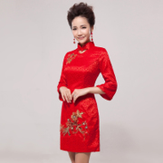 2015 new improvement in spring and summer fashion slim bridal wedding toast red lace Chinese dress cheongsam girl-