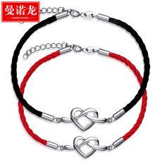 曼诺龙S925银永结同心情侣手链一对红绳爱心编织女学生男女款手链