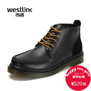 Westlink/West 2015 winter round head new business casual leather stitching lace short boots men's boots