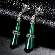 Thai new high-end embedded natural green agate earrings 925 Silver ladies Western fashion earrings tide