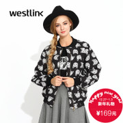 Westlink/West fall 2015 new wave rhombic cat print loose baseball collar women's blouses