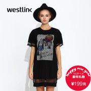 Westlink/West fall 2015 new leisure network print two-piece women's short sleeve short dress