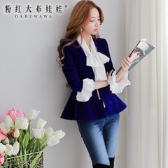 Female short coat pink doll 2015 new Royal Blue Metallic decorative buckle velvet Blazer