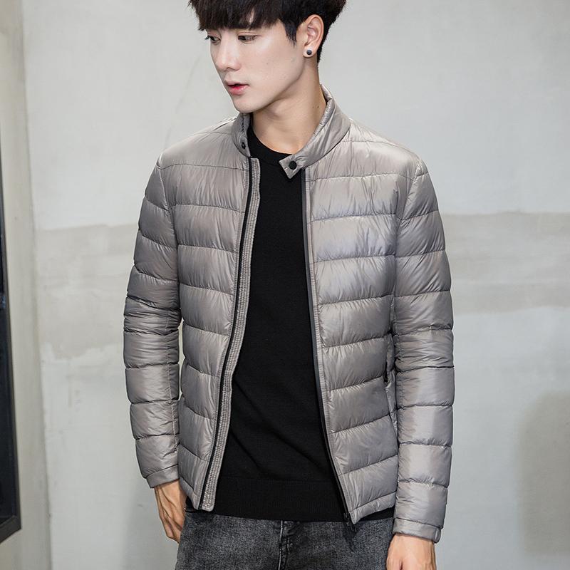 反季清仓 冬装男士韩版修身羽绒衣 超轻薄夹克款立领羽绒服外套