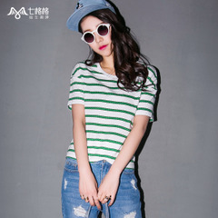 Seven space space OTHERMIX2015 new spring/summer stripes printed white t shirt women