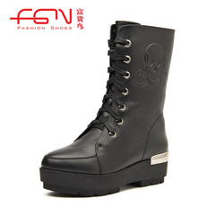Fuguiniao coarse with genuine leather women boots ladies boots ladies boots Martin boots, winter boots in the UK