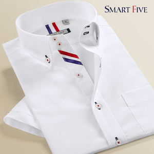 SmartFive summer shirt solid color stitching men cultivating cotton non-iron Men's business casual short-sleeved shirt