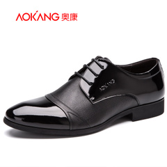 Aucom men's shoes men's business trend of the British leather patent leather stitching business dress shoes low cut men shoes