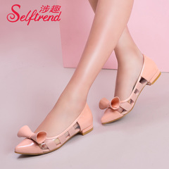 Fun fall 2015 involved new sweet transparent PVC bows pointed shallow low flat women shoes T51133