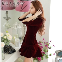 Long sleeve dress pink doll 2015 autumn slim new Womenswear temperament bow dress