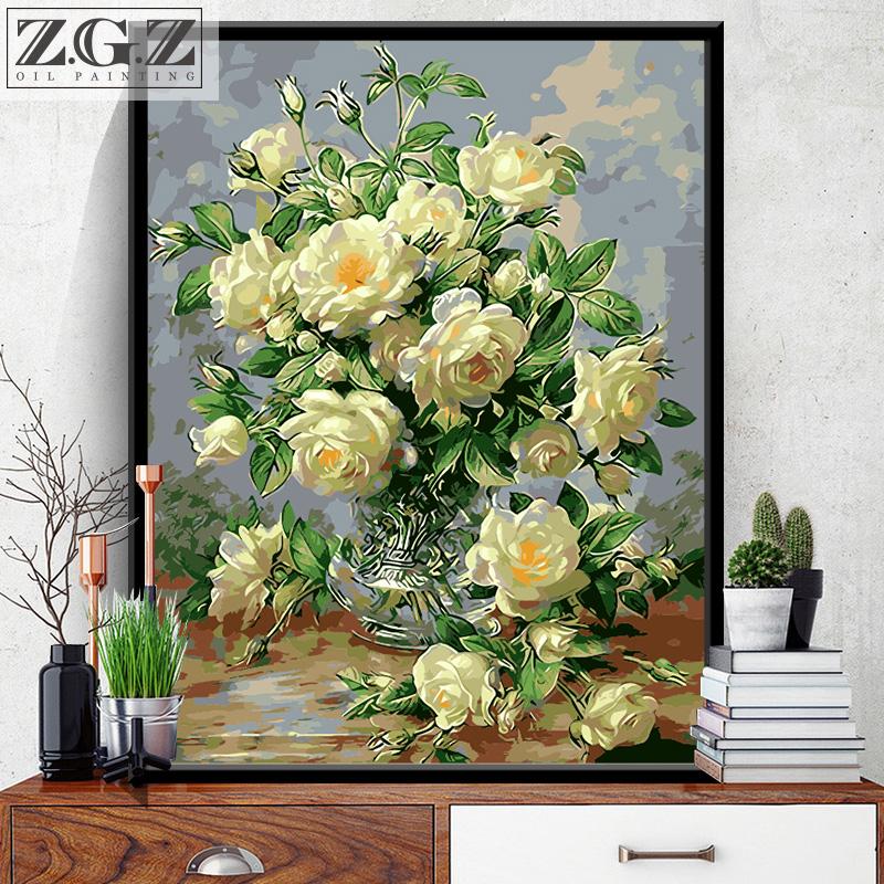 赵公子 数字油画diy花卉客厅填色油彩画数码手绘装饰画白牡丹