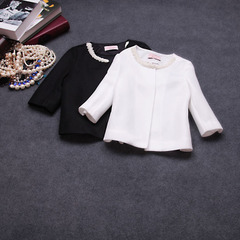 2015 spring new fashion ladies Princess temperament Pearl neck cropped sleeve jacket #
