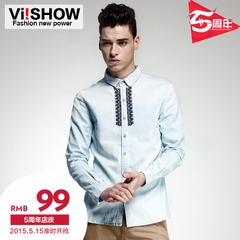 Viishow2015 spring and autumn the new mosaic City boy cowboy shirt slim fit embroidered jeans men