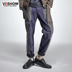 Viishow 2015 men's casual pants spring men's campaign spliced straight slacks pants youth male tides