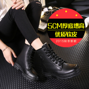 Fall/winter new black thick wedges Martin boots women surge at the end of circular head of lace students in England before the increased wind short boots