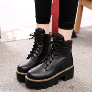 2015 new laces in autumn and winter in rough with short boots women boots with thick soles and bare British wind tide Martin boots women's boots