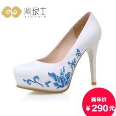 Alang autumn shoes high heel women new 2015 national wind embroidery waterproof shoes with blue and white porcelain shoes 224