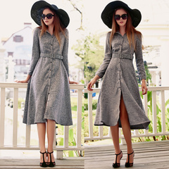 Europe Spring new retro high waist umbrellas elegance Hepburn dress dresses, dress shirt-English Academy 9379