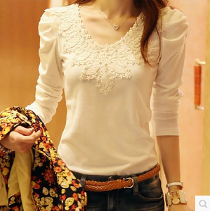Free shipping 2015 new Korean yards was thin women bottoming shirt long sleeve shirt ladies lace blouse t-shirt autumn
